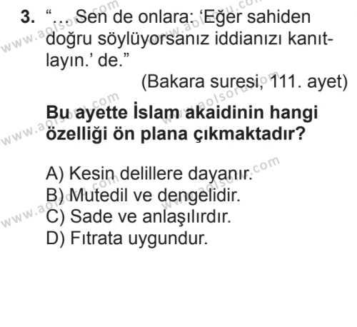 Akaid 1 Dersi 2017 - 2018 Yılı 2. Dönem Sınavı 3. Soru