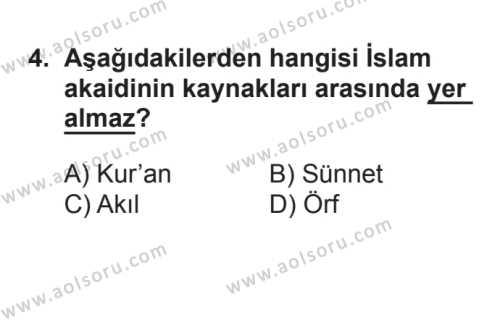 Akaid 1 Dersi 2017 - 2018 Yılı 2. Dönem Sınavı 4. Soru