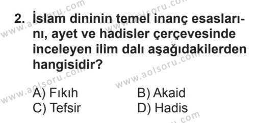 Akaid 1 Dersi 2017 - 2018 Yılı 3. Dönem Sınavı 2. Soru
