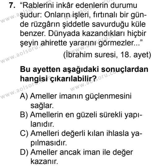 Akaid 1 Dersi 2018-2019 Yılı 1. Dönem Sınavı 7. Soru