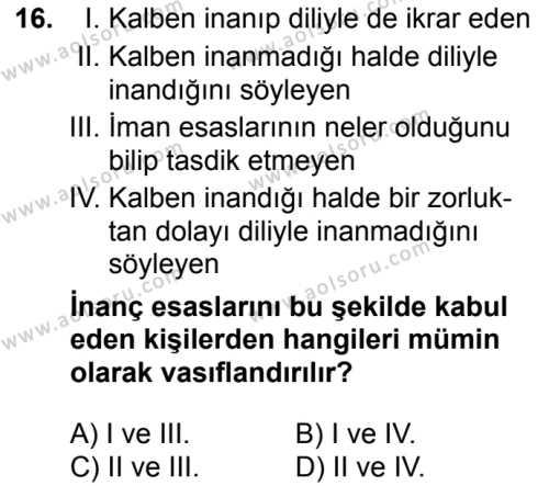 Akaid 1 Dersi 2018-2019 Yılı 1. Dönem Sınavı 16. Soru