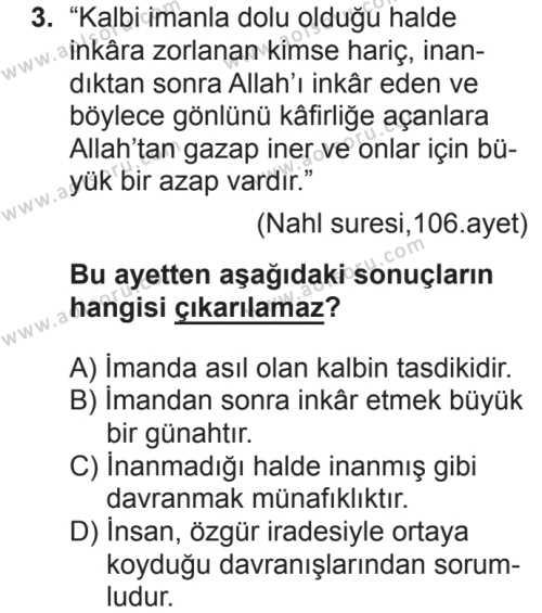 Akaid 1 Dersi 2018 - 2019 Yılı 2. Dönem Sınav Soruları 3. Soru