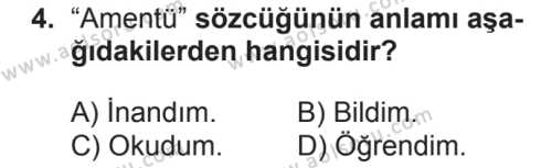 Akaid 1 Dersi 2018 - 2019 Yılı 2. Dönem Sınav Soruları 4. Soru