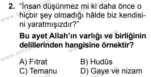 Akaid 1 Dersi 2018 - 2019 Yılı 3. Dönem Sınavı 2. Soru
