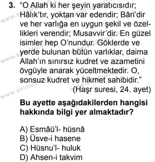 Akaid 1 Dersi 2018 - 2019 Yılı 3. Dönem Sınavı 3. Soru