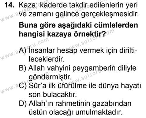 Akaid 2 Dersi 2017-2018 Yılı 1. Dönem Sınavı 14. Soru