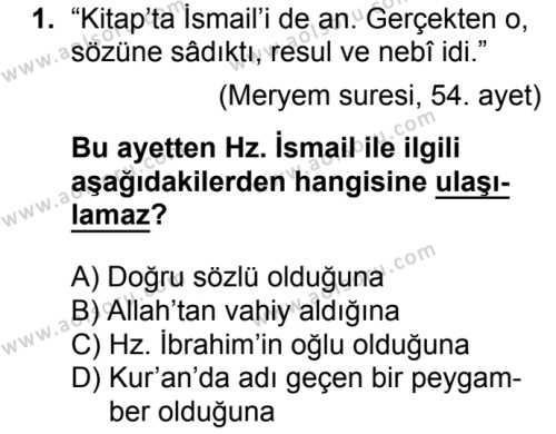 Akaid 2 Dersi 2018 - 2019 Yılı 1. Dönem Sınavı 1. Soru