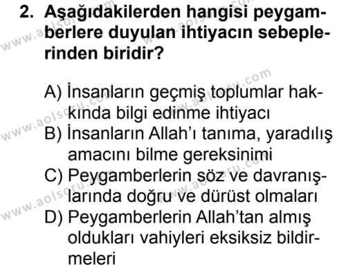 Akaid 2 Dersi 2018 - 2019 Yılı 1. Dönem Sınavı 2. Soru
