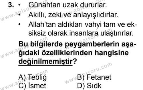 Akaid 2 Dersi 2018 - 2019 Yılı 1. Dönem Sınavı 3. Soru