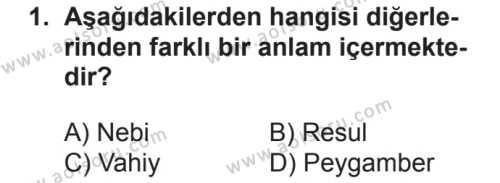 Akaid 2 Dersi 2018 - 2019 Yılı 2. Dönem Sınavı 1. Soru