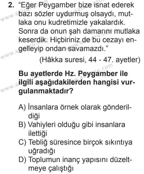 Akaid 2 Dersi 2018 - 2019 Yılı 2. Dönem Sınavı 2. Soru