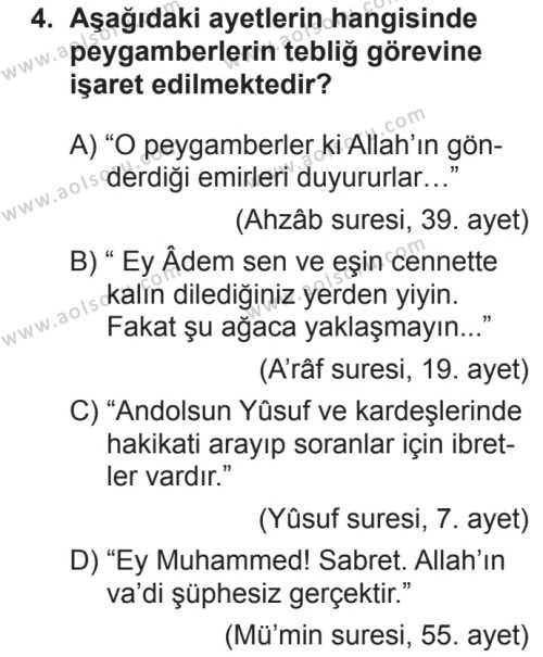 Akaid 2 Dersi 2018 - 2019 Yılı 2. Dönem Sınavı 4. Soru