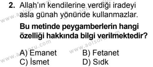 Akaid 2 Dersi 2018 - 2019 Yılı 3. Dönem Sınavı 2. Soru