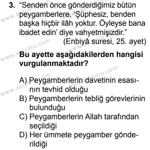 Akaid 2 Dersi 2018 - 2019 Yılı 3. Dönem Sınavı 3. Soru