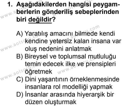 Akaid ve Kelam 2 Dersi 2016 - 2017 Yılı 3. Dönem Sınavı 1. Soru