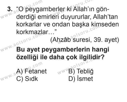Akaid ve Kelam 2 Dersi 2016 - 2017 Yılı Ek Sınavı 3. Soru