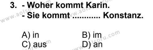 Almanca 1 Dersi 2011 - 2012 Yılı Ek Sınav Soruları 3. Soru