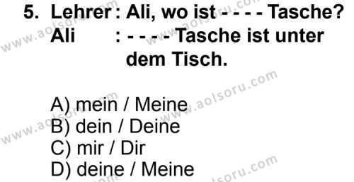 Almanca 1 Dersi 2015-2016 Yılı 1. Dönem Sınavı 5. Soru