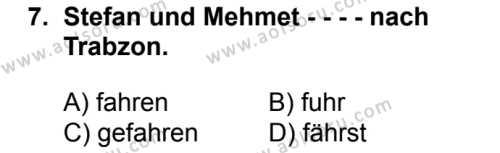 Almanca 1 Dersi 2016-2017 Yılı 1. Dönem Sınavı 7. Soru