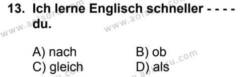 Almanca 1 Dersi 2017-2018 Yılı 1. Dönem Sınavı 13. Soru