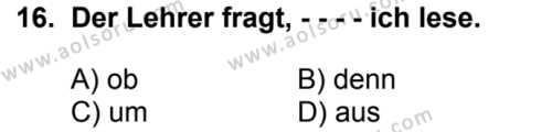 Almanca 1 Dersi 2017-2018 Yılı 1. Dönem Sınavı 16. Soru