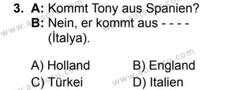 Almanca 1 Dersi 2019 - 2020 Yılı 1. Dönem Sınav Soruları 3. Soru