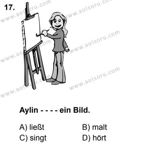 Almanca 1 Dersi 2019-2020 Yılı 1. Dönem Sınavı 17. Soru