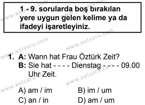 Almanca 1 Dersi 2019 - 2020 Yılı 2. Dönem Sınav Soruları 1. Soru