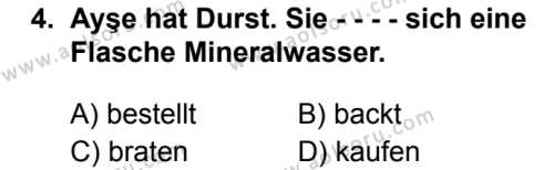 Almanca 1 Dersi 2019 - 2020 Yılı 2. Dönem Sınav Soruları 4. Soru