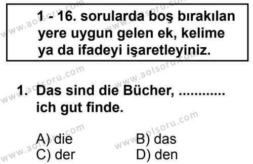 Almanca 2 Dersi 2013 - 2014 Yılı 3. Dönem Sınavı 1. Soru