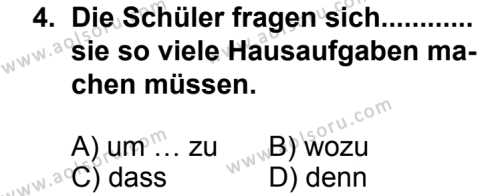 Almanca 2 Dersi 2013 - 2014 Yılı 3. Dönem Sınavı 4. Soru