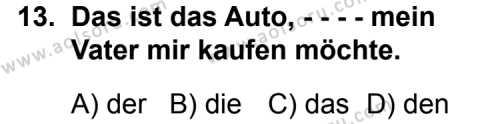 Almanca 2 Dersi 2015-2016 Yılı 1. Dönem Sınavı 13. Soru