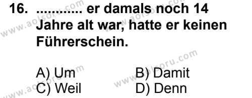 Almanca 2 Dersi 2011-2012 Yılı 1. Dönem Sınavı 16. Soru