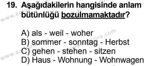 Almanca 2 Dersi 2011-2012 Yılı 1. Dönem Sınavı 19. Soru