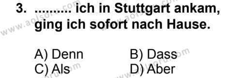 Almanca 2 Dersi 2012-2013 Yılı 1. Dönem Sınavı 3. Soru
