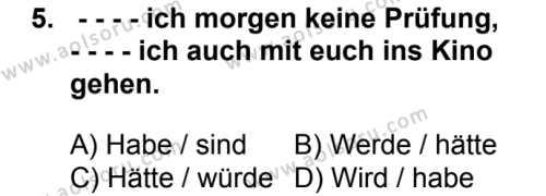 Almanca 2 Dersi 2016-2017 Yılı 1. Dönem Sınavı 5. Soru