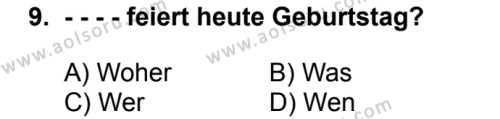 Almanca 2 Dersi 2018-2019 Yılı 1. Dönem Sınavı 9. Soru
