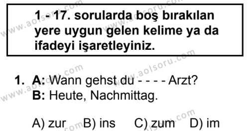 Almanca 2 Dersi 2019 - 2020 Yılı 1. Dönem Sınav Soruları 1. Soru