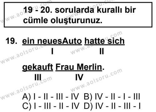 Almanca 3 Dersi 2011-2012 Yılı 1. Dönem Sınavı 19. Soru