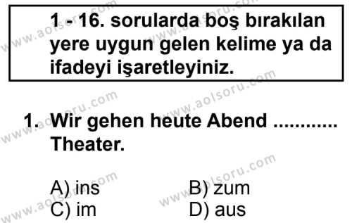Almanca 3 Dersi 2011 - 2012 Yılı Ek Sınav Soruları 1. Soru
