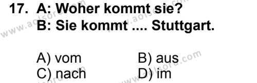 Almanca 3 Dersi 2012-2013 Yılı 1. Dönem Sınavı 17. Soru