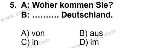 Almanca 3 Dersi 2013-2014 Yılı 1. Dönem Sınavı 5. Soru