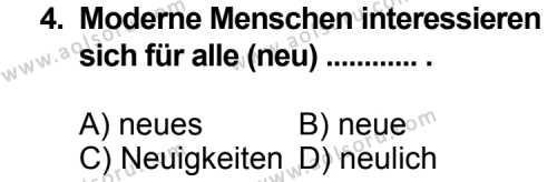 Almanca 3 Dersi 2013 - 2014 Yılı 3. Dönem Sınav Soruları 4. Soru