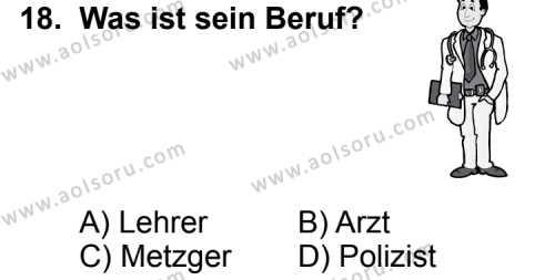 Almanca 3 Dersi 2014-2015 Yılı 1. Dönem Sınavı 18. Soru