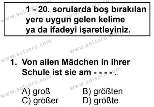 Almanca 3 Dersi 2014 - 2015 Yılı Ek Sınav Soruları 1. Soru