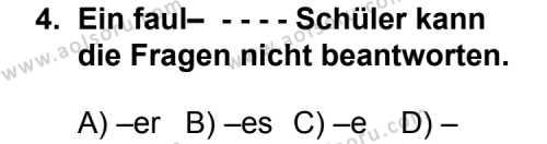 Almanca 3 Dersi 2014 - 2015 Yılı Ek Sınav Soruları 4. Soru