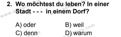 Almanca 3 Dersi 2019 - 2020 Yılı 1. Dönem Sınav Soruları 2. Soru