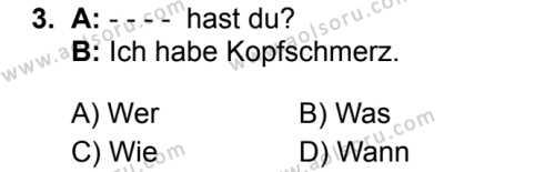 Almanca 3 Dersi 2019 - 2020 Yılı 1. Dönem Sınav Soruları 3. Soru