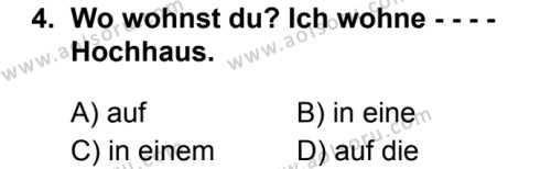 Almanca 3 Dersi 2019 - 2020 Yılı 1. Dönem Sınav Soruları 4. Soru