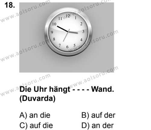 Almanca 3 Dersi 2019-2020 Yılı 1. Dönem Sınavı 18. Soru